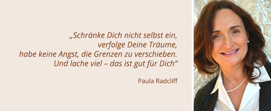 Bild - Praxis Die Orthopäden am Borsigturm - Porträt Dr. Konstanze Halder + Zitat von Paula Radcliff